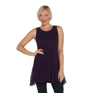 LOGO Layers Purple Knit Tank Godet Detail Sz XS